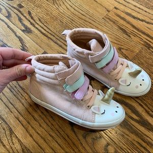 OLD NAVY Unicorn Hi Top Velcro Sneakers Pink 10